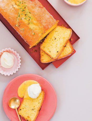 Granadilla, lemon and thyme loaf cake