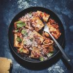 Mushroom and cauliflower paccheri bolognese