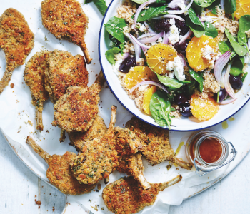 Crumbed lamb cutlets with orange and couscous salad