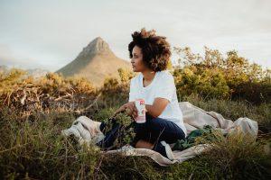 Woman having a picnic