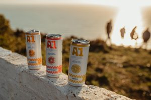 Cans of A1 Fruit Water