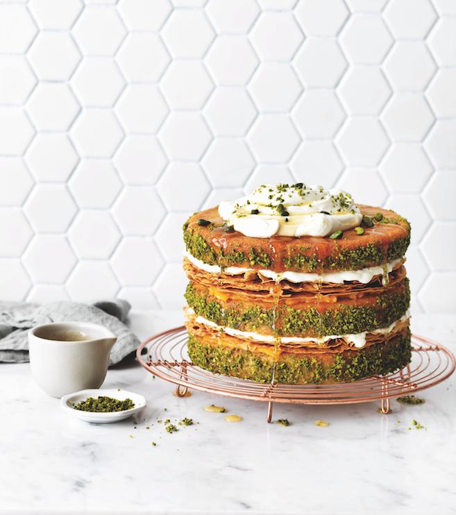 pistachio & apricot baklava cake