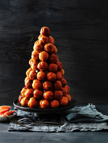 Peach and toffee croquembouche