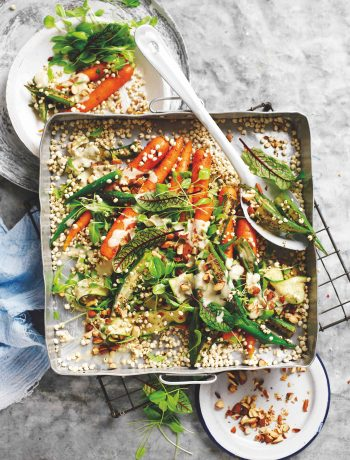 Spiced okra millet salad with tahini dressing