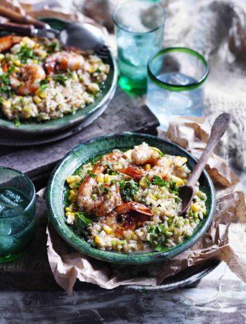 Prawn, rosemary and corn risotto recipe