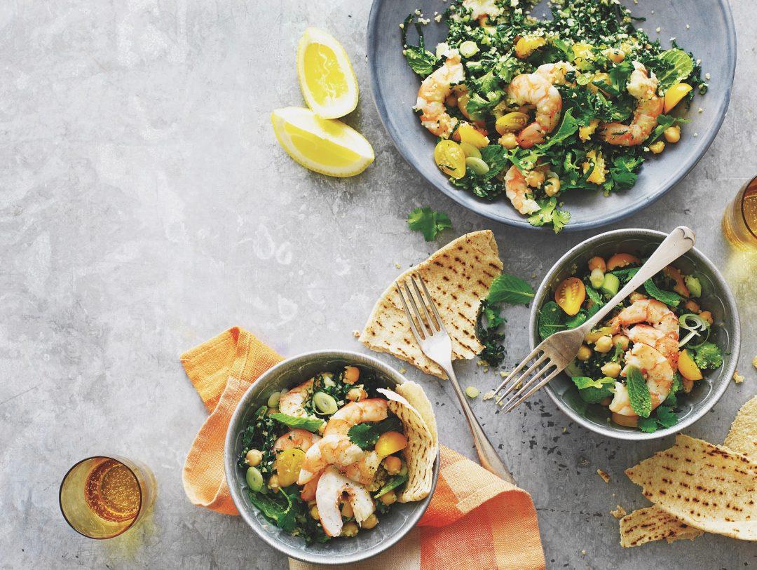 Prawn, kale & chickpea tabbouleh