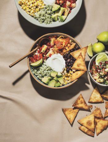 Roast chicken burrito bowls